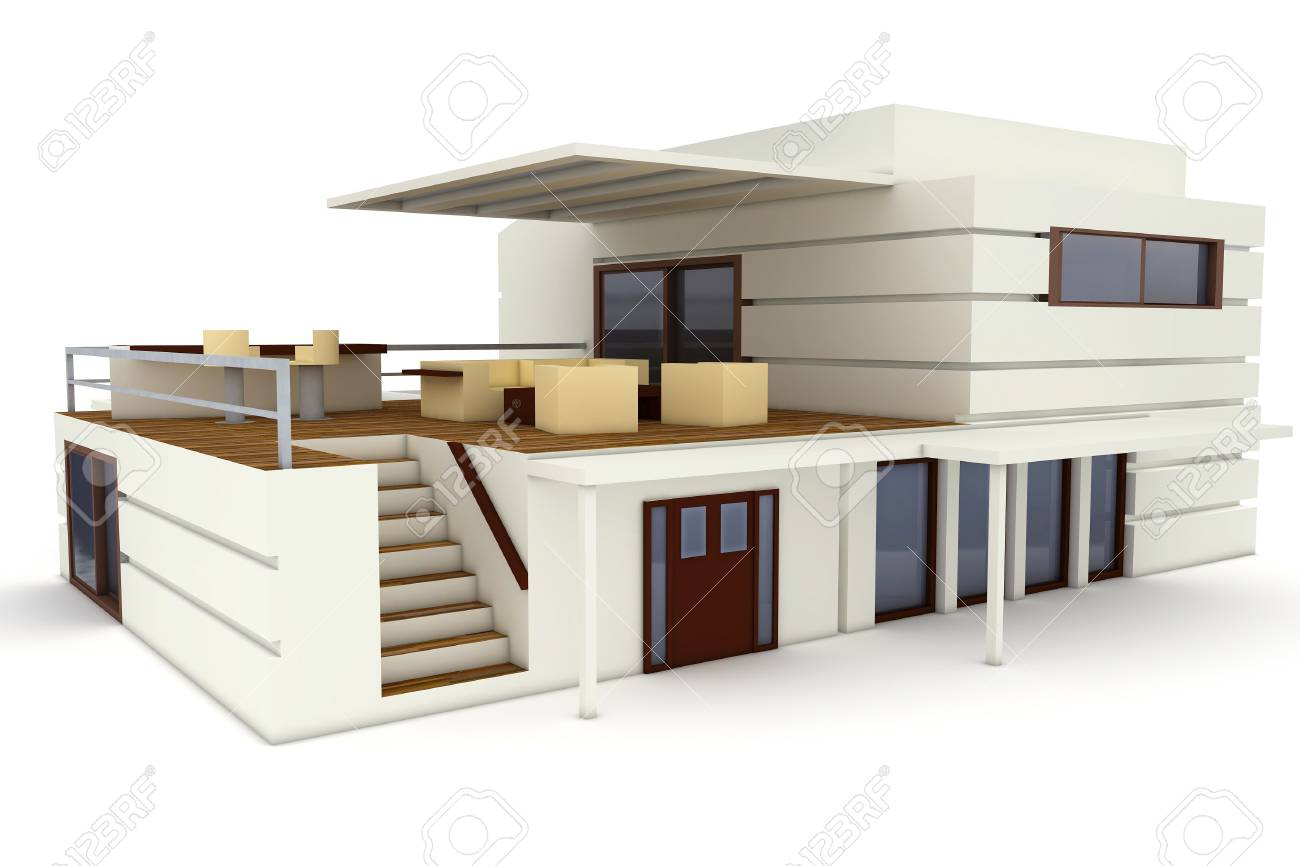 3d house isolated on white rendered generic Stock Photo - 8782575