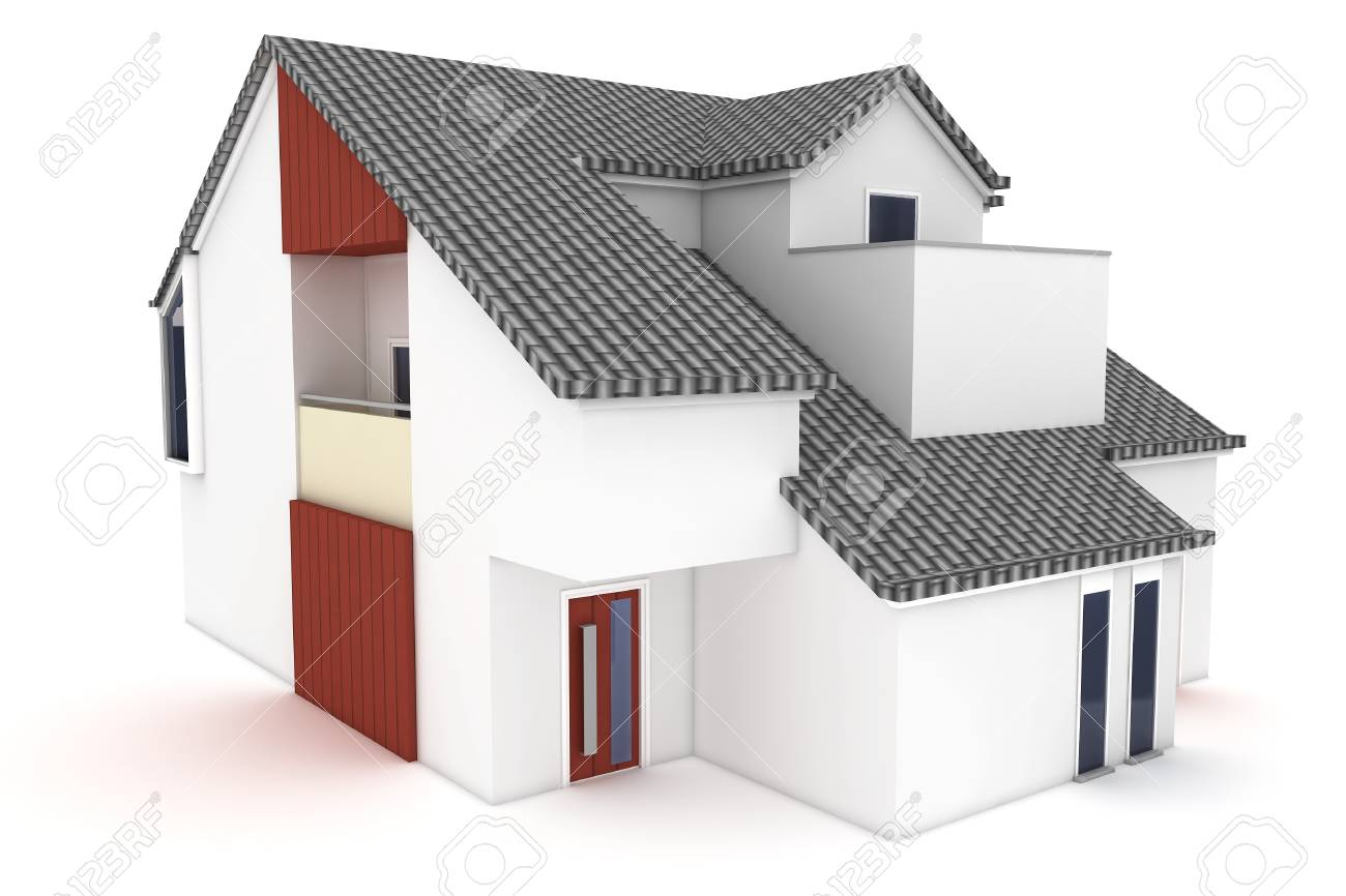 3d house isolated on white rendered generic Stock Photo - 8857875