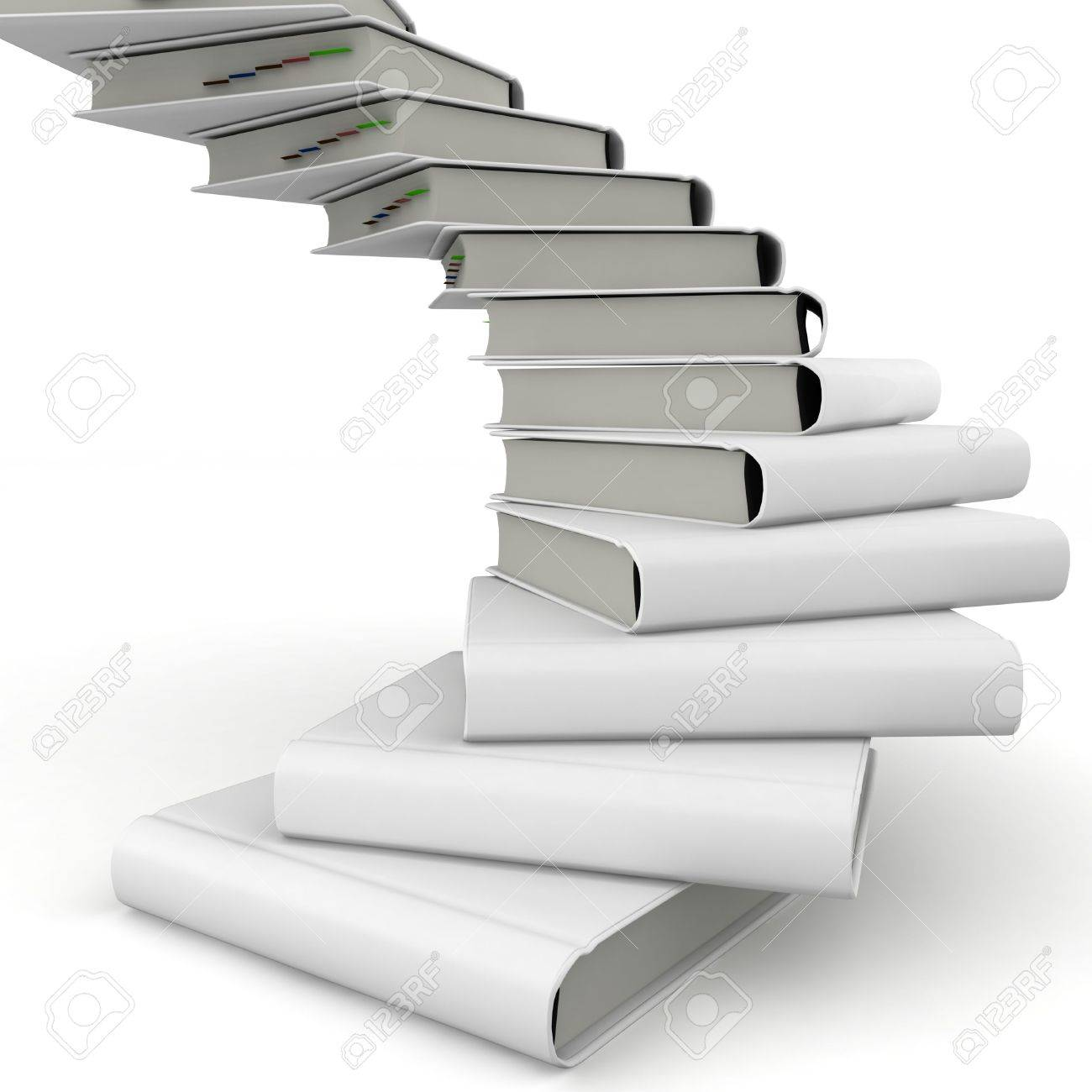 3d  book spiral stair with blank cover isolated on white Stock Photo - 9082993