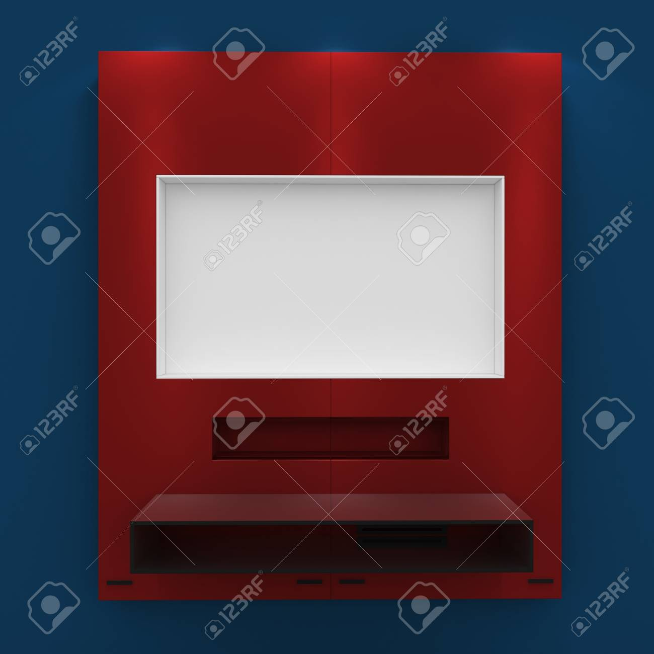 3d Empty shelves for exhibit isolated on white Stock Photo - 9123433