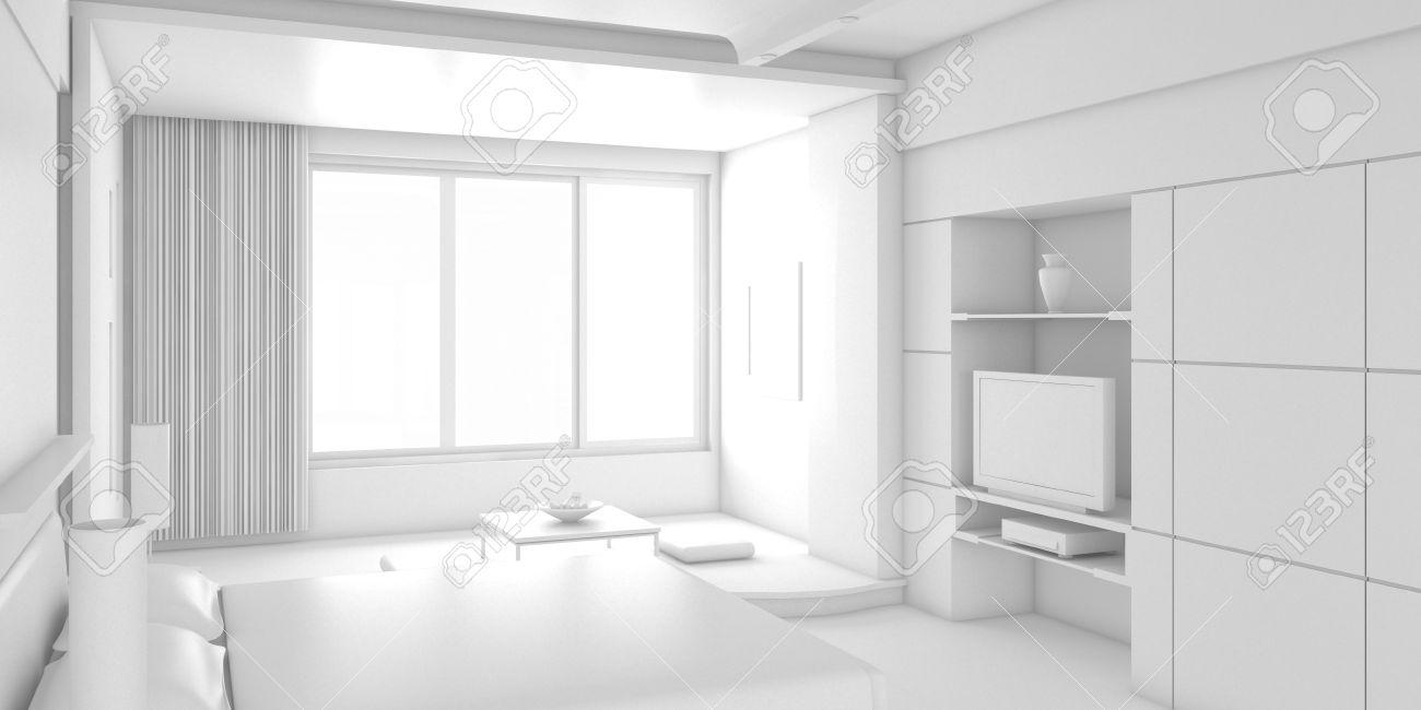 3D Interior Design Leere Zimmer Mit Weißen Möbel Lizenzfreie Fotos ...