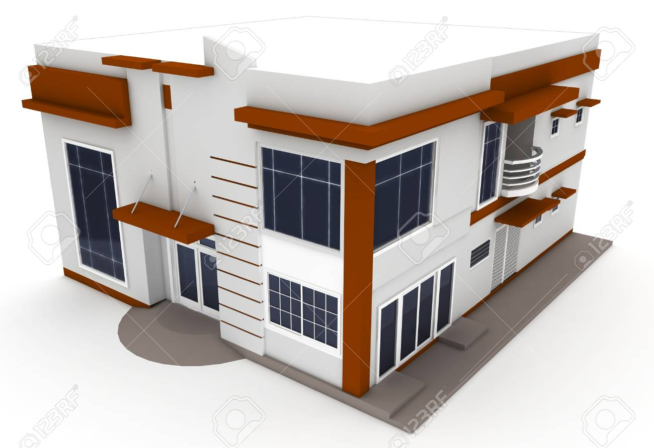 3d house isolated on white rendered generic Stock Photo - 9414828