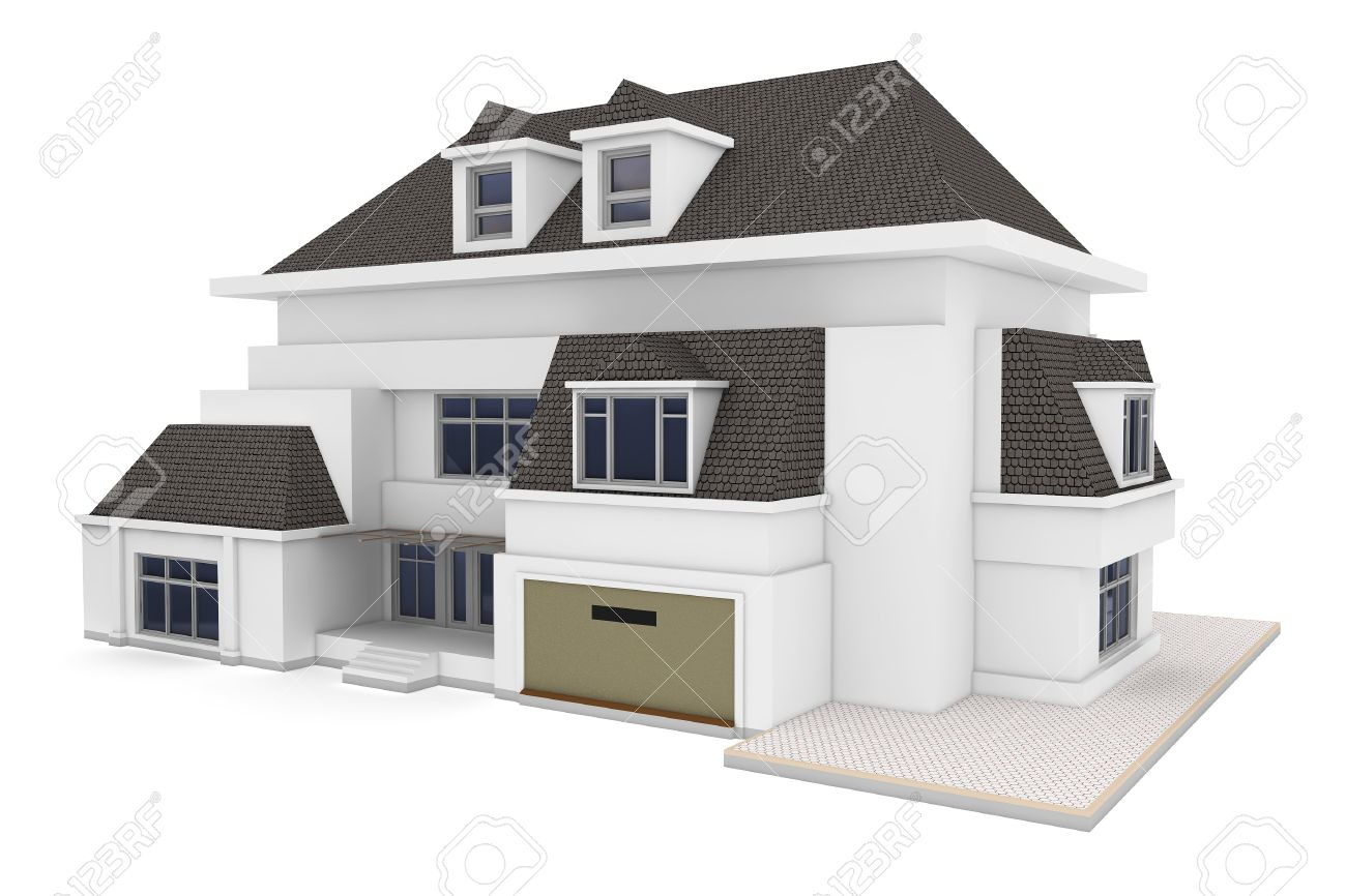 3d House Isolated On White Rendered Generic Stock Photo, Picture ...