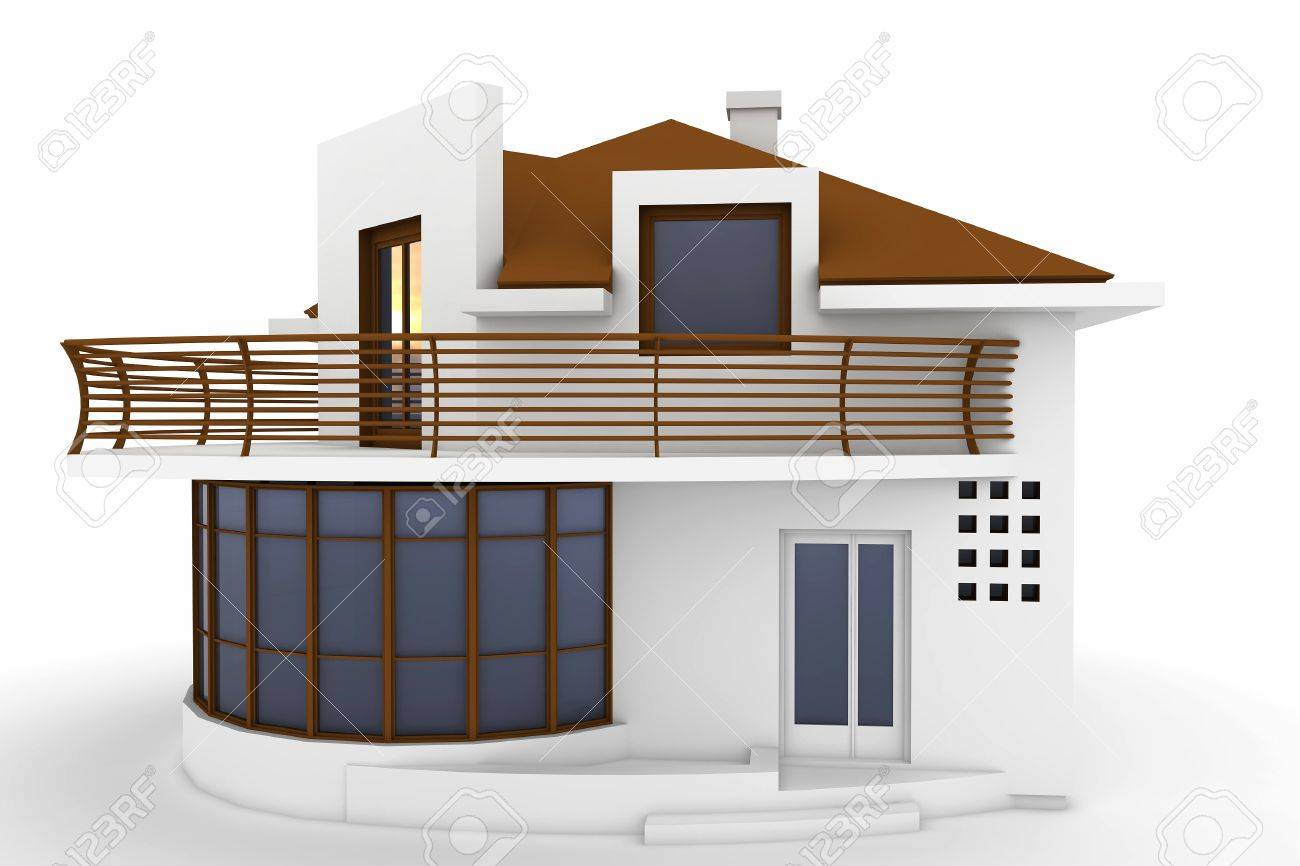 3d house isolated on white rendered generic Stock Photo - 9446028