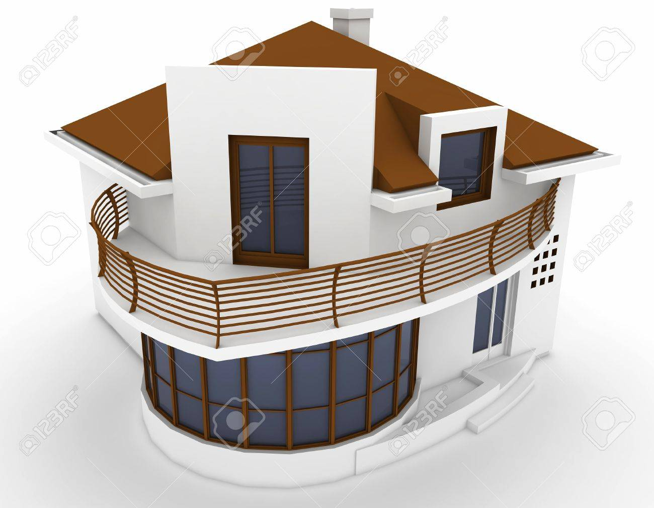 3d house isolated on white rendered generic Stock Photo - 9446035