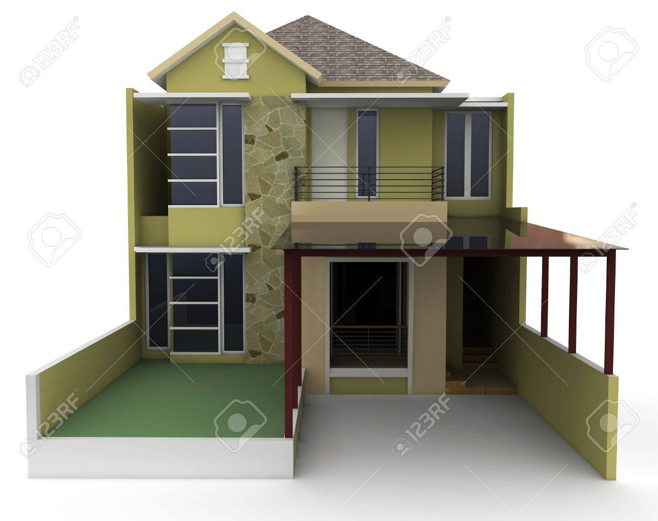 3d house isolated on white rendered generic Stock Photo - 9552809