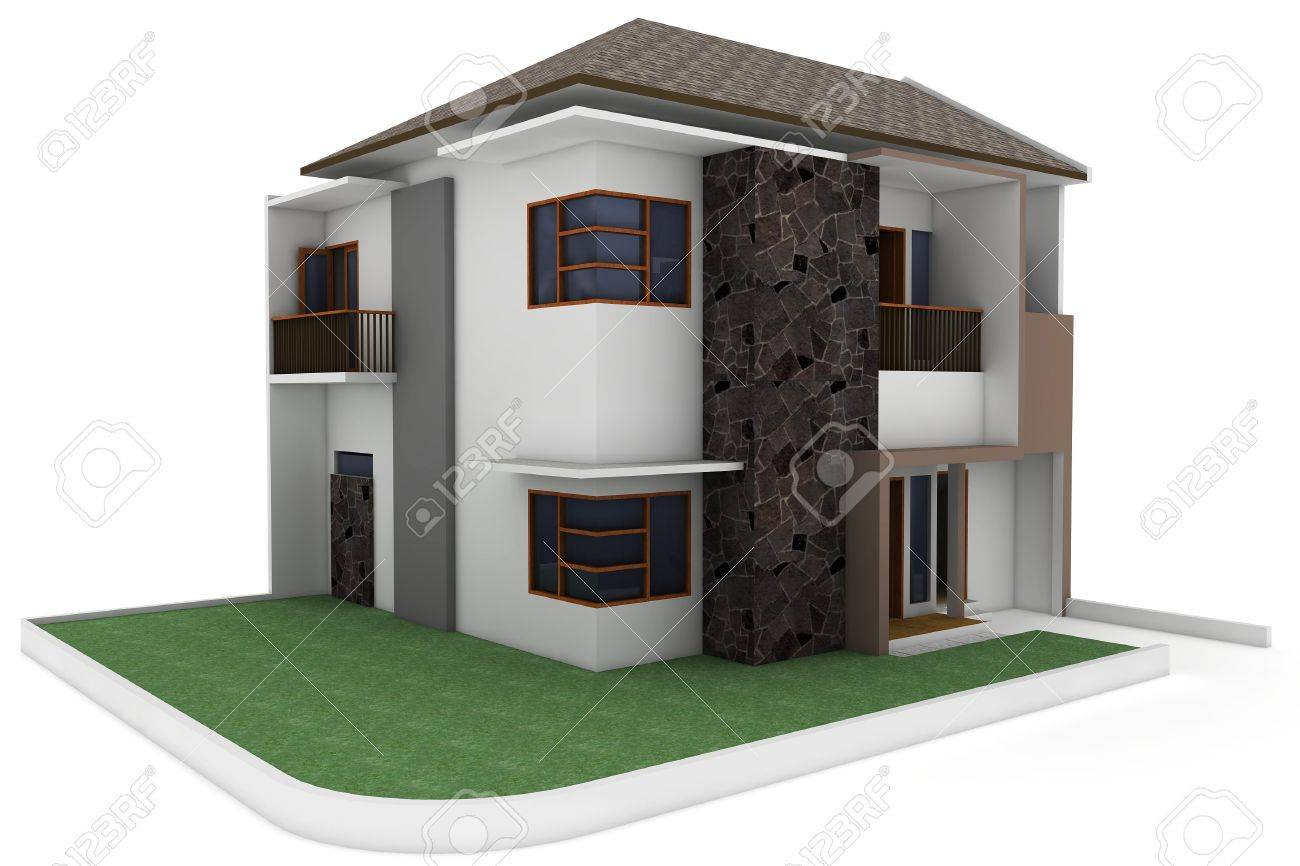 3d house isolated on white rendered generic Stock Photo - 9552826