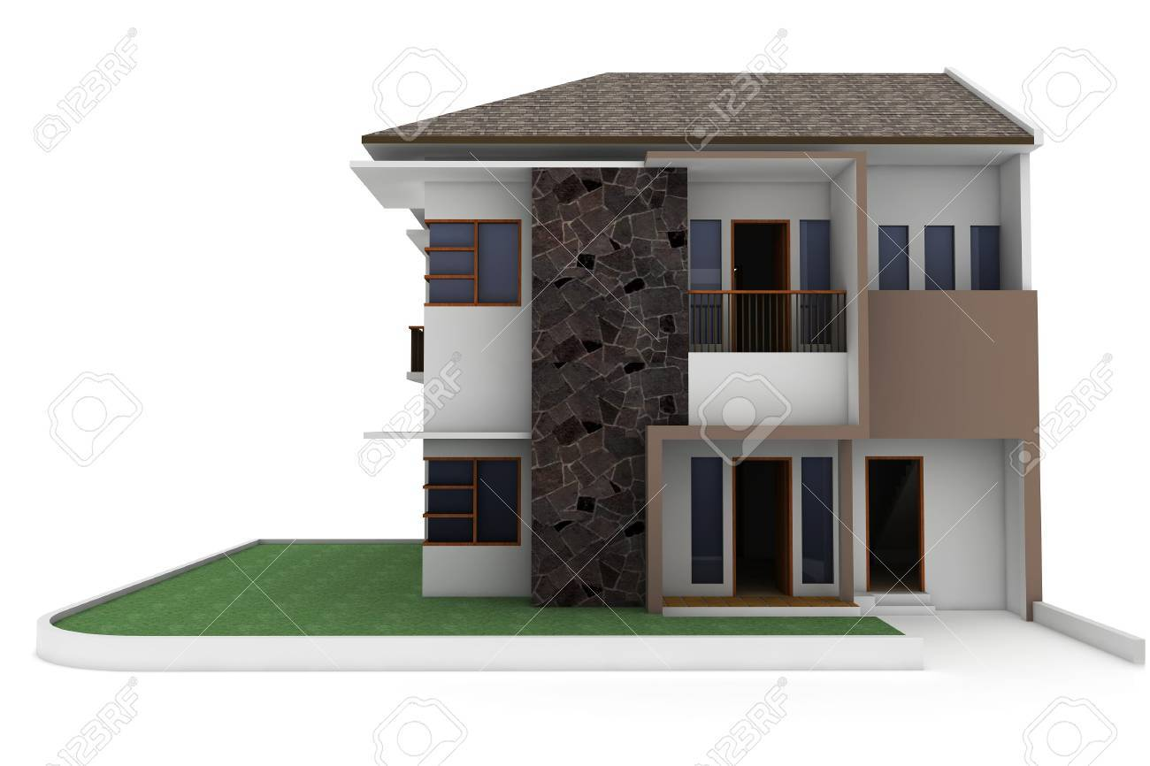 3d house isolated on white rendered generic Stock Photo - 9552813