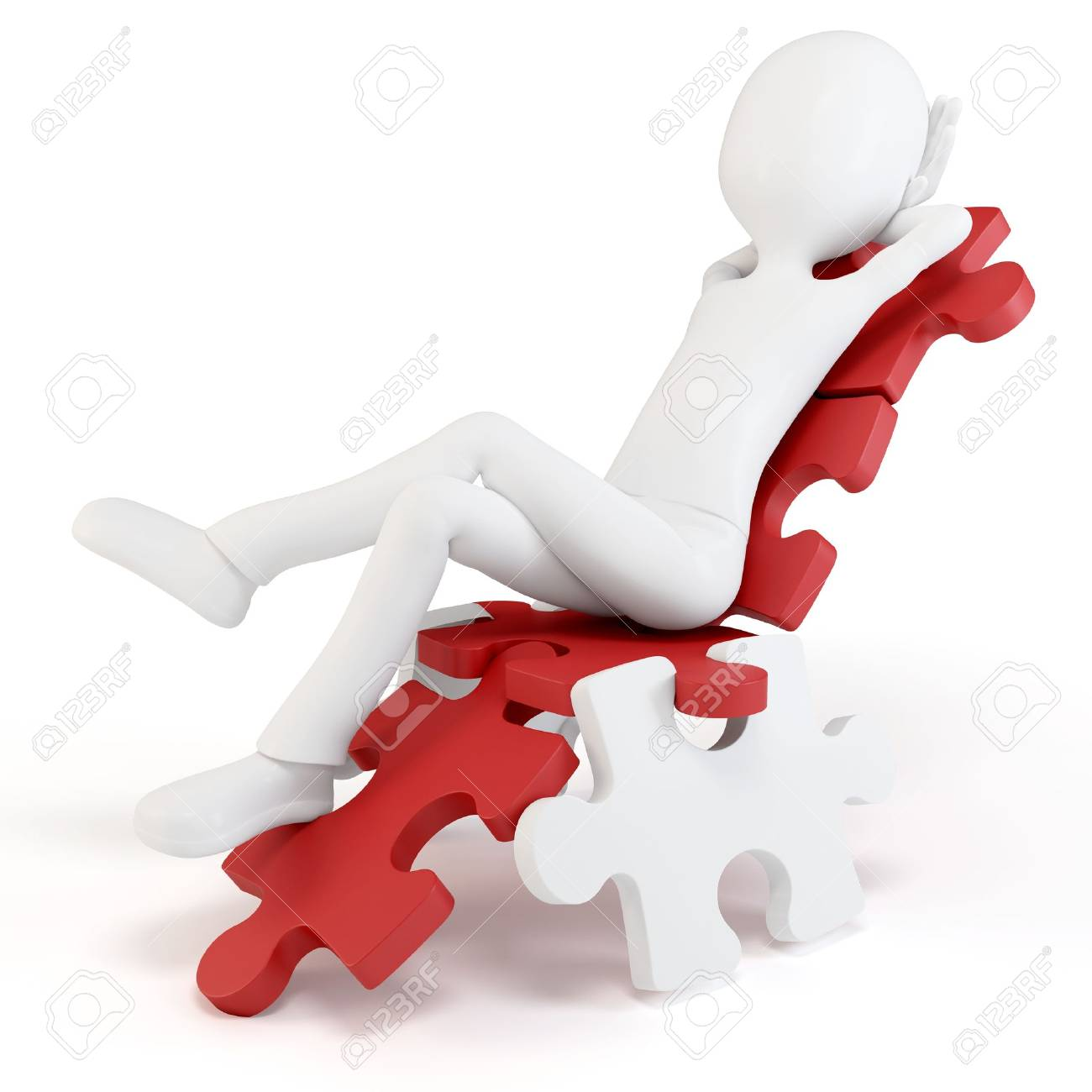 3d man relaxing in a puzzle chair isolated on white Stock Photo - 10029234