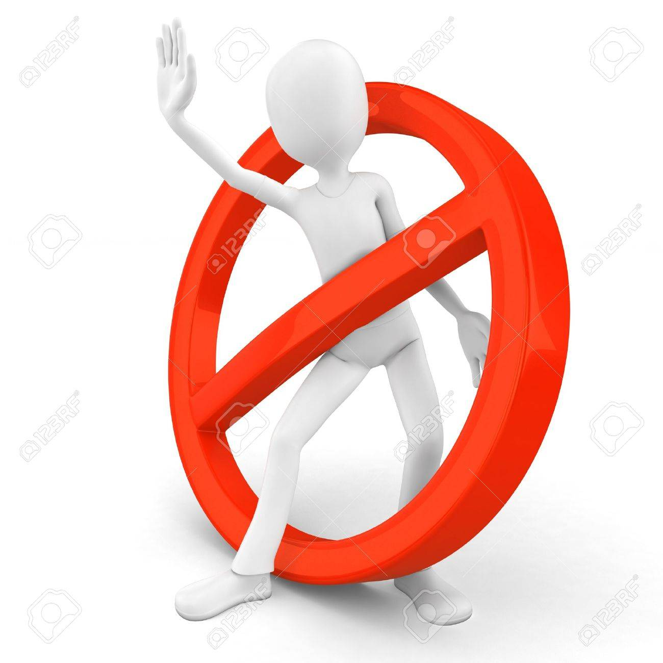 3d man stop sign on white background Stock Photo - 10136703