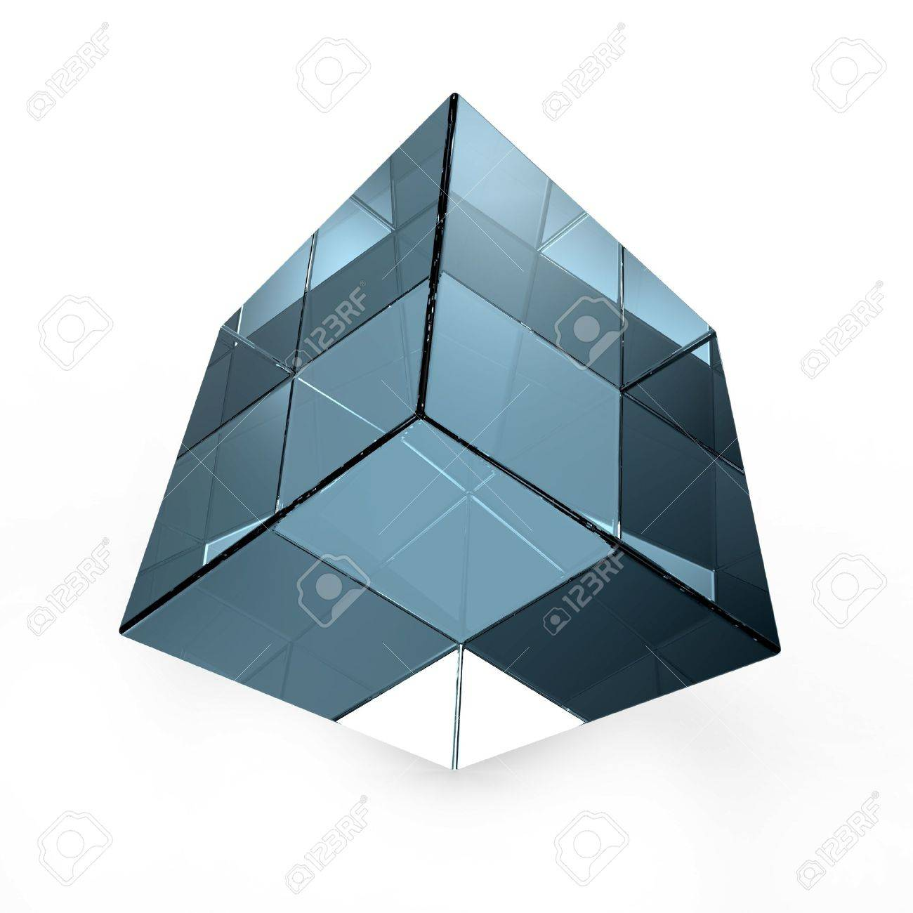 3d Glazen Kubus.3d Abstracte Blauwe Glazen Kubus Op Wit Wordt Gea Soleerd