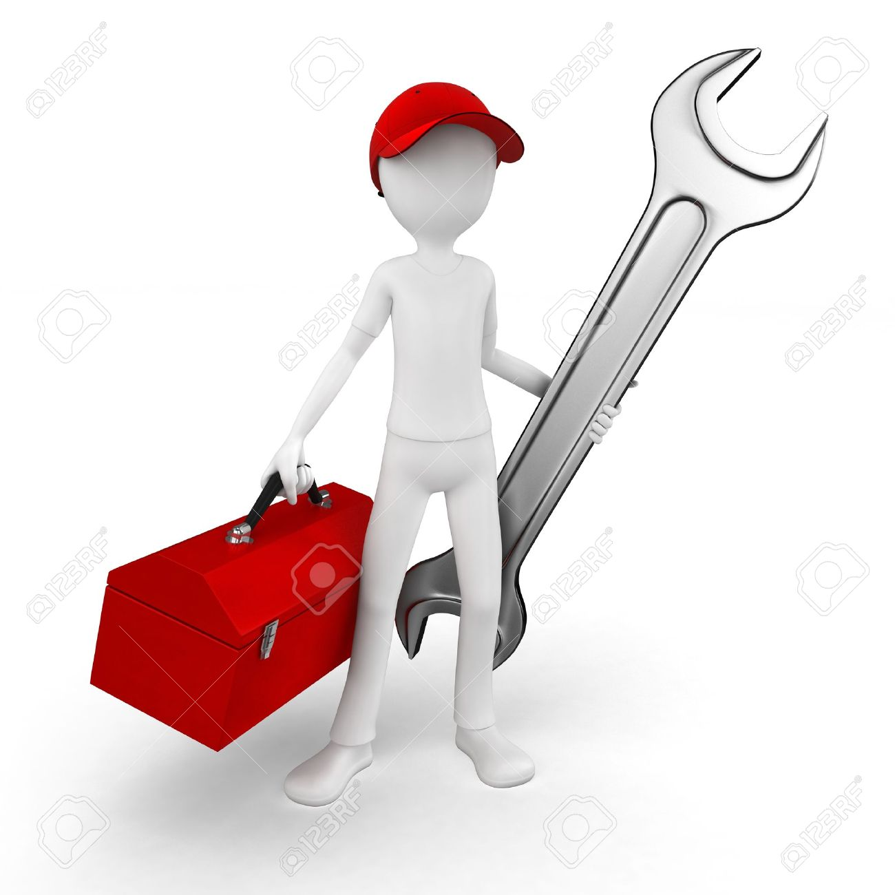 3d man engineer with toolbox and wrench on white Stock Photo - 10463845