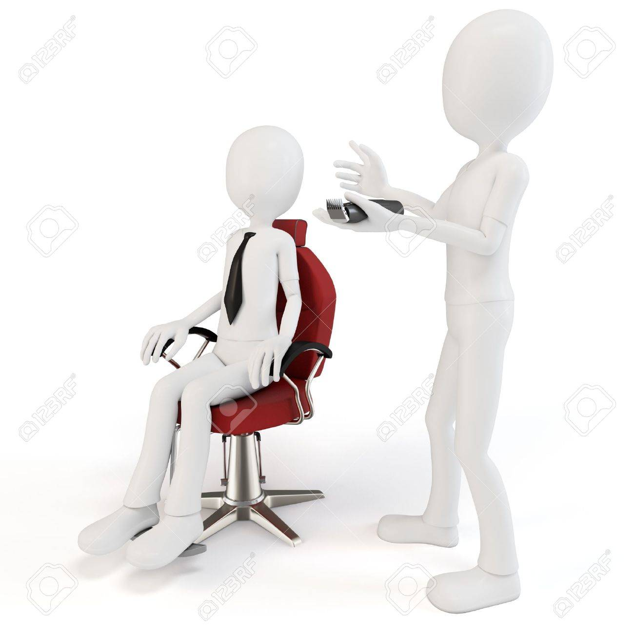3d man at barber shop on white background Stock Photo - 11087947