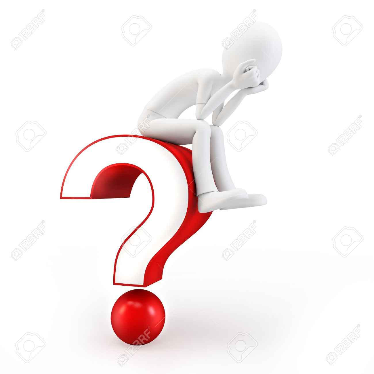 3d man sitting on a question mark on white background Stock Photo - 13307340