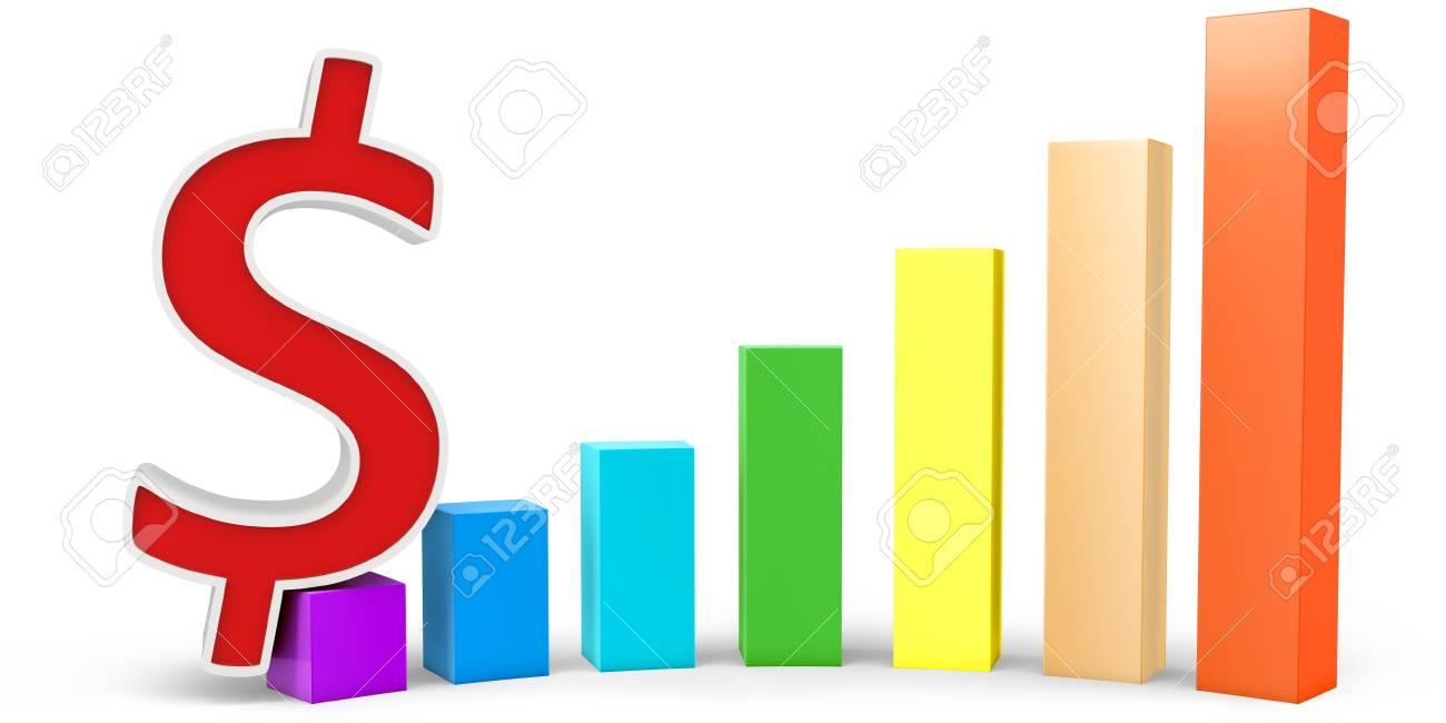 3d graph diagram bars white background Stock Photo - 14405187