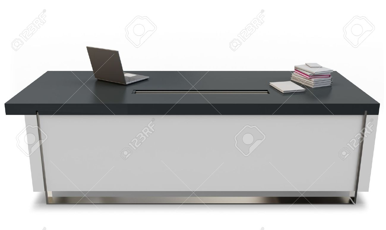 Laptop Chair Desk 3d Desk With Laptop And Executive Chair On White Background Stock