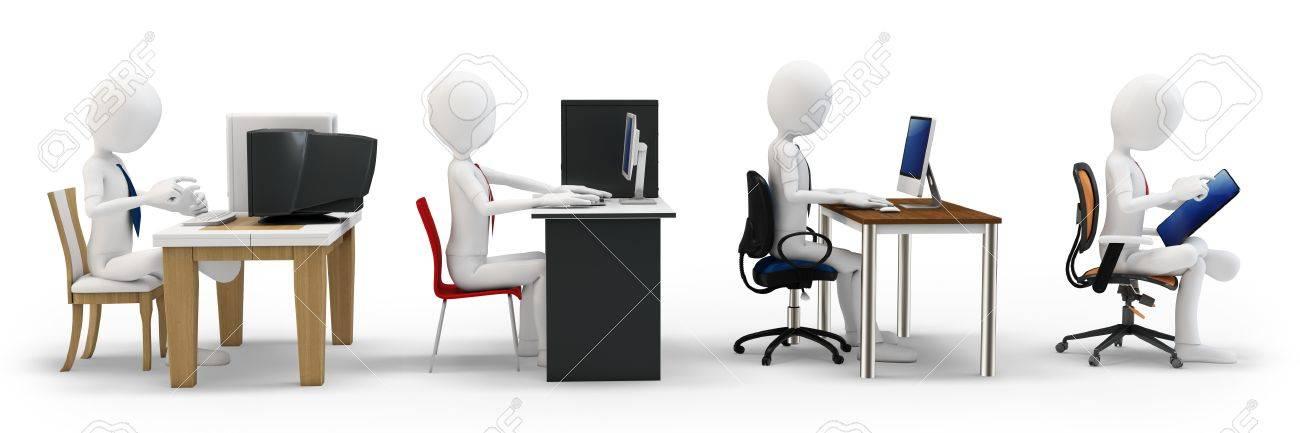3d Homme Avec Le Concept De Lévolution De Lordinateur Sur Fond
