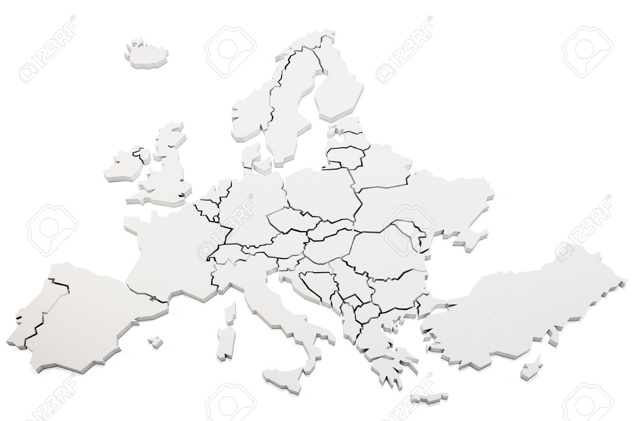 3d Map Of Europe Rendering On White Background Stock Photo Picture