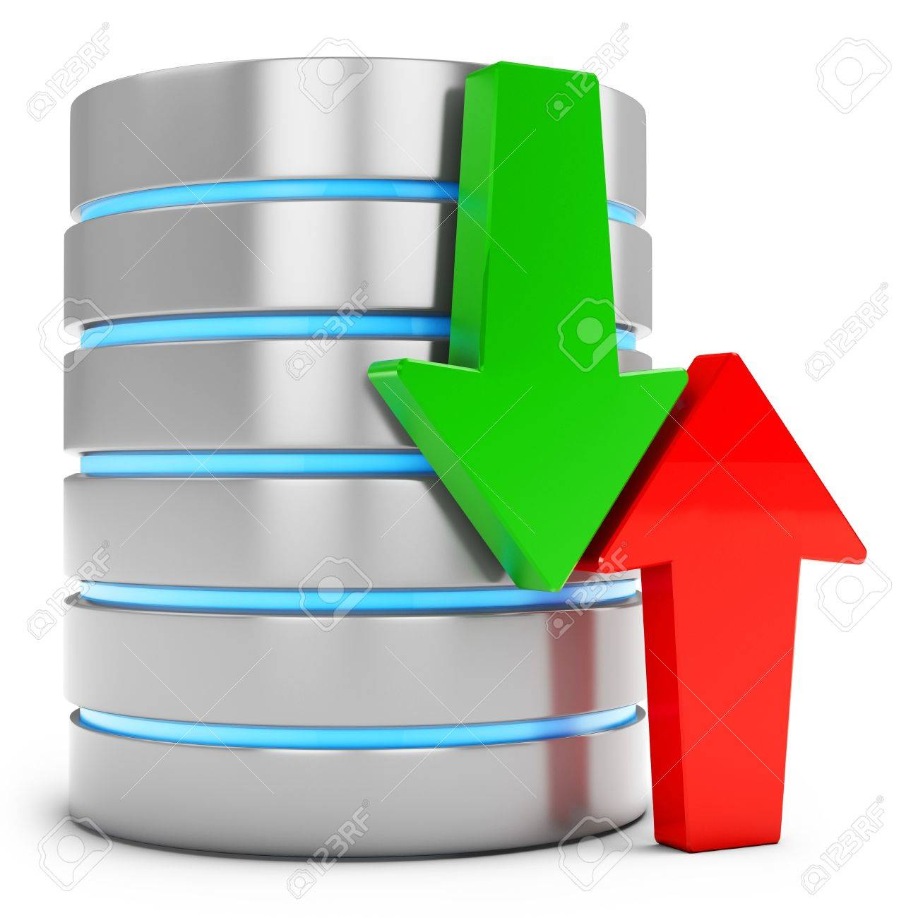 3d database with green download and red upload arrows on white