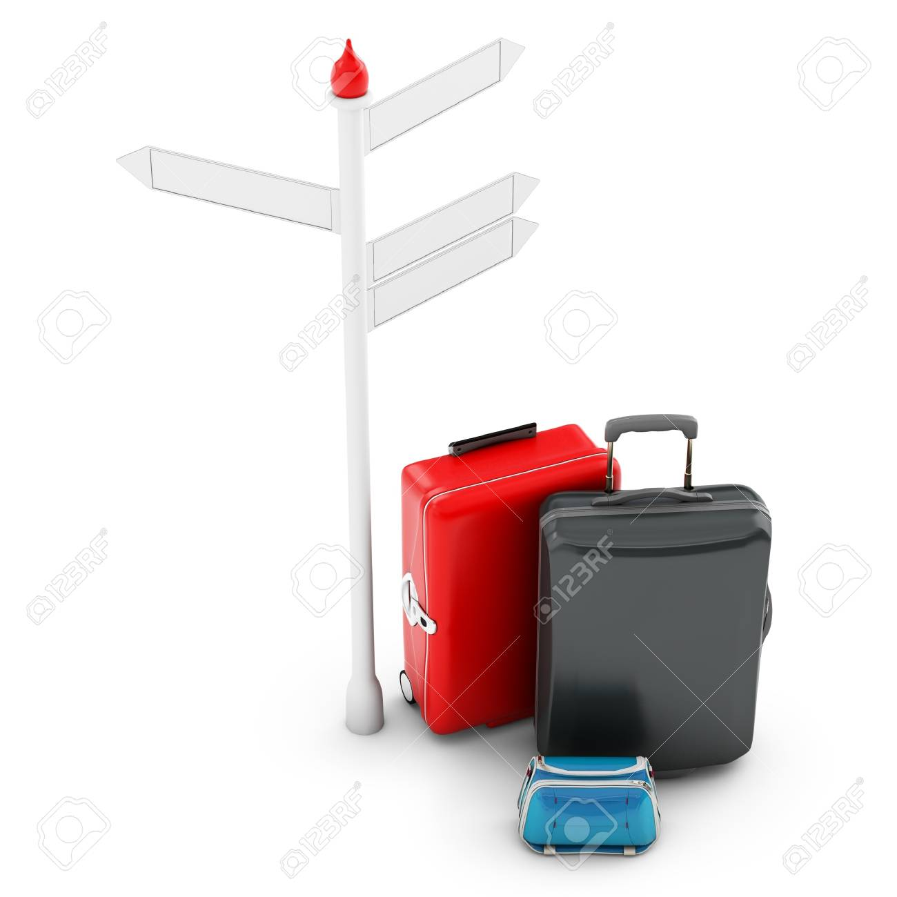 3d pile of luggage by a sign on white background Stock Photo - 19265967