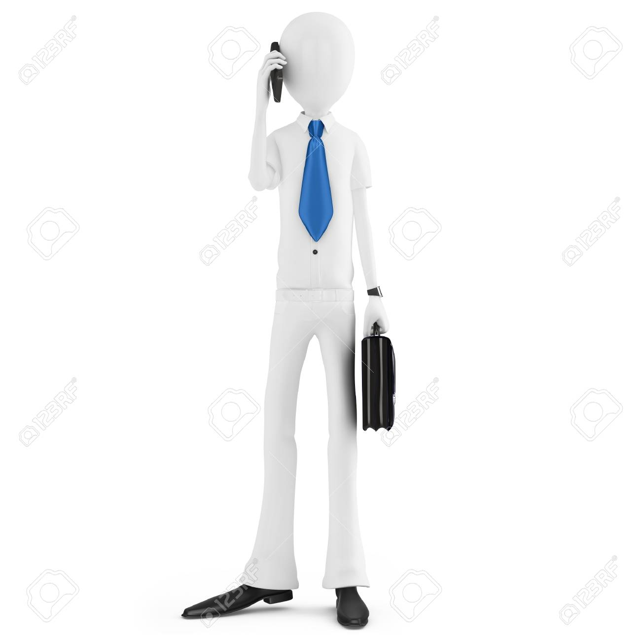 3d man business man talking at phone Stock Photo - 21218962