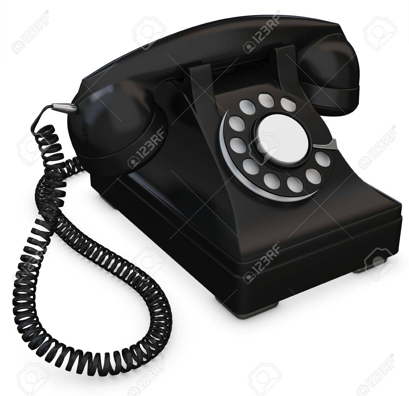 3d Black Old Fashioned Phone On White Background Stock Photo