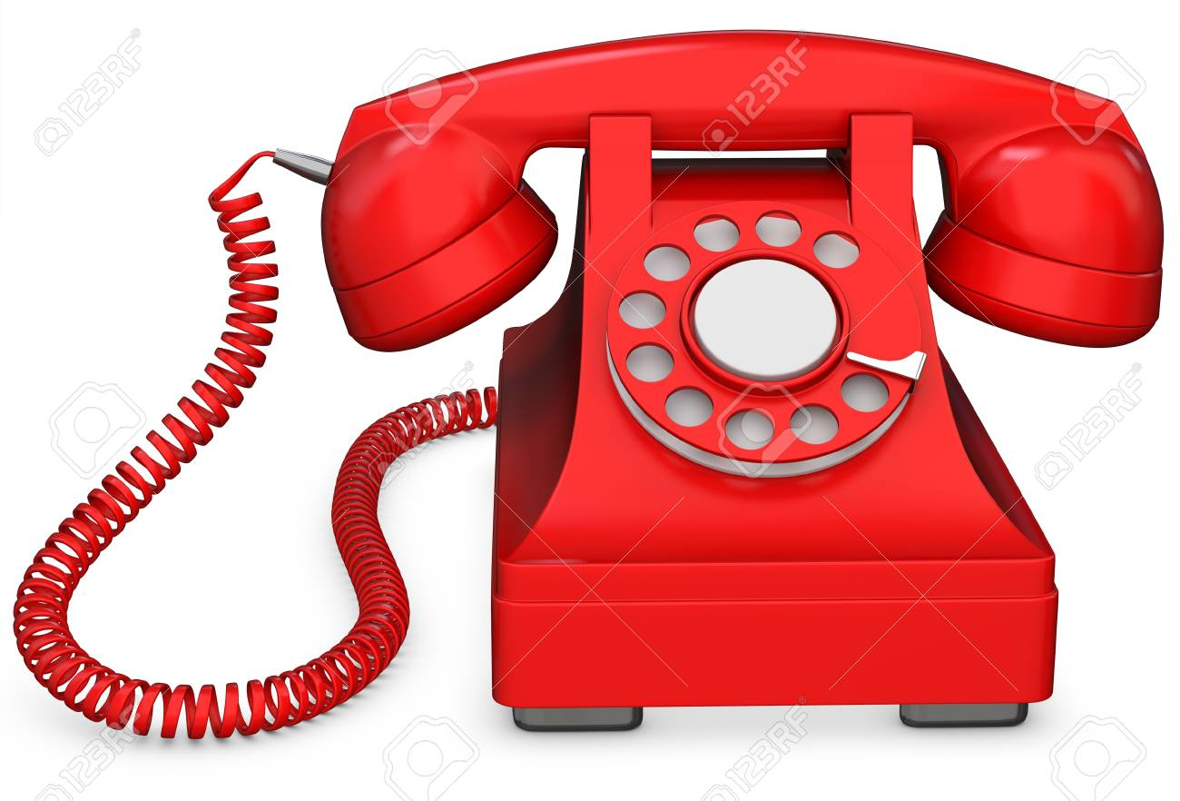 3d Red Old Fashioned Phone On White Background Stock Photo Picture