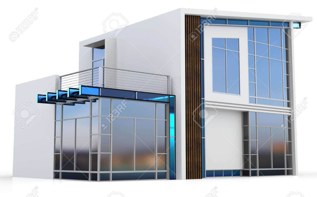 3d modern house on white background stock photo 34012817
