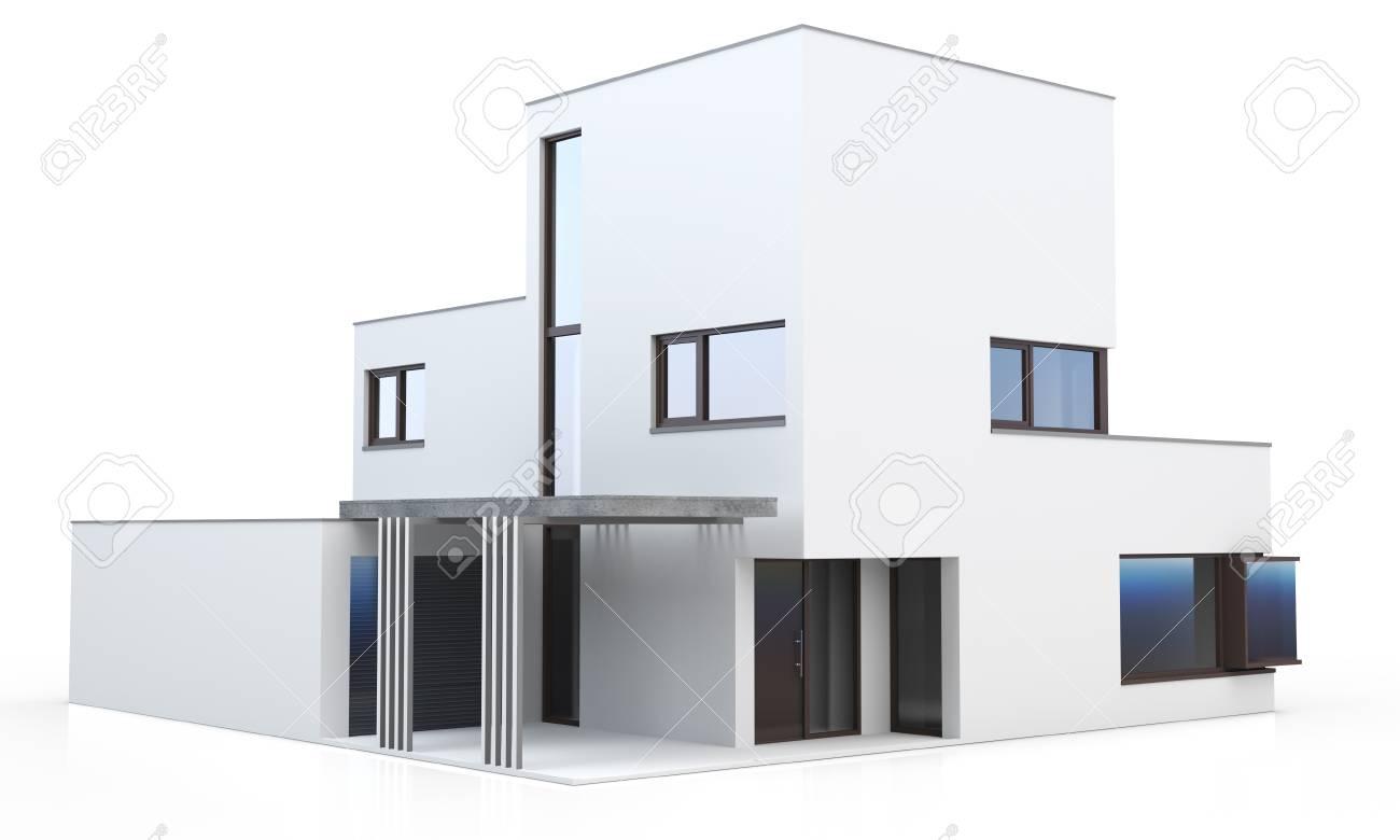 3d maison moderne générique isolé sur fond blanc
