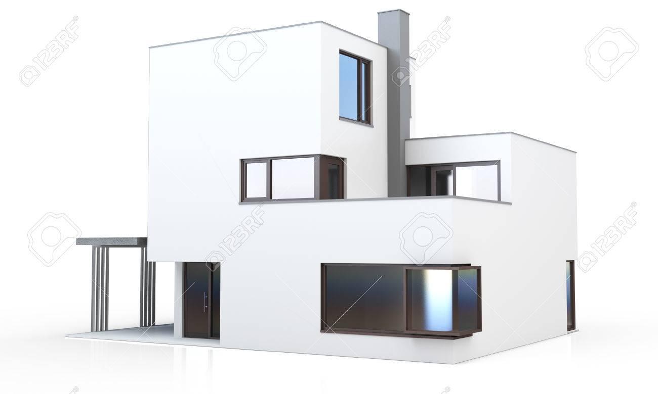 3d Maison Moderne Générique Isolé Sur Fond Blanc Banque D\'Images Et ...