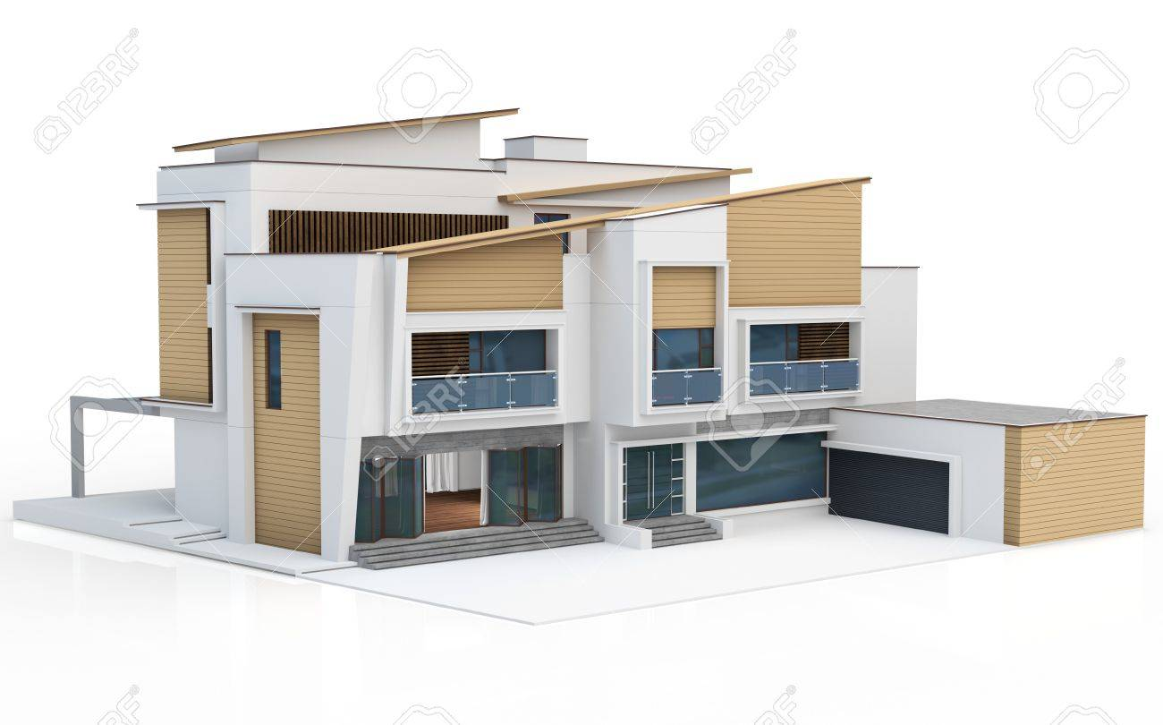 3d render of modern house on white background stock photo 47001791