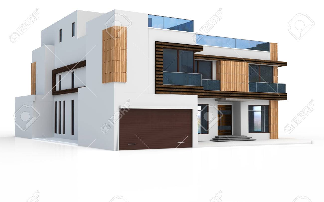 3d render of modern house on white background stock photo 47209638