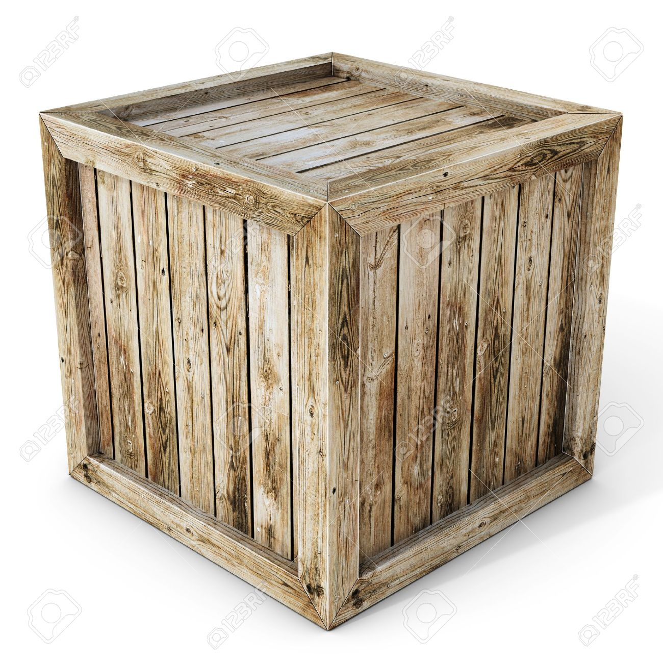 wooden box clipart. wood box 3d old wooden crate on white background clipart