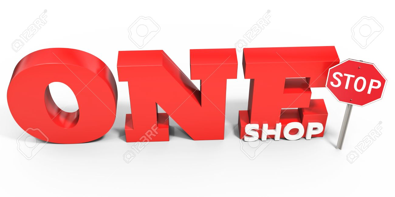 Well-liked 3d One Stop Shop Sign On White Background Stock Photo, Picture And  DK32