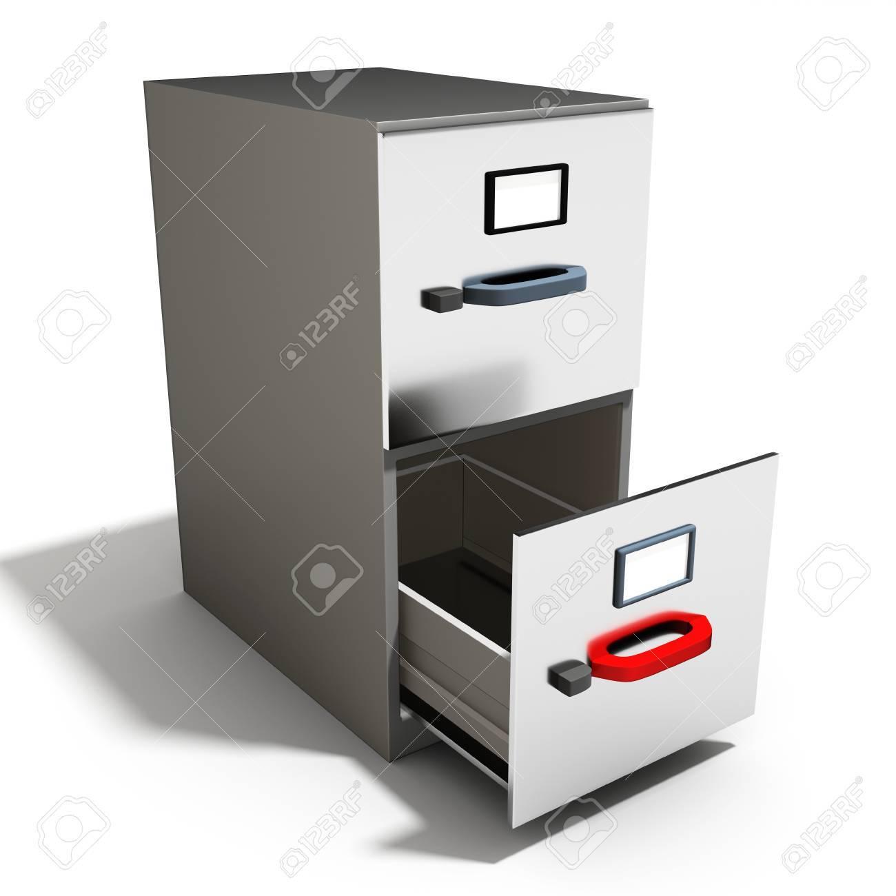 open file cabinet. 3d Empty Open File Cabinet On A White Background Stock Photo - 52151716 E