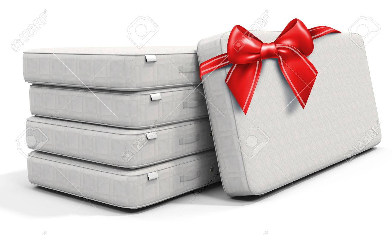 3d white mattress stack with red bow on white background - 52151731