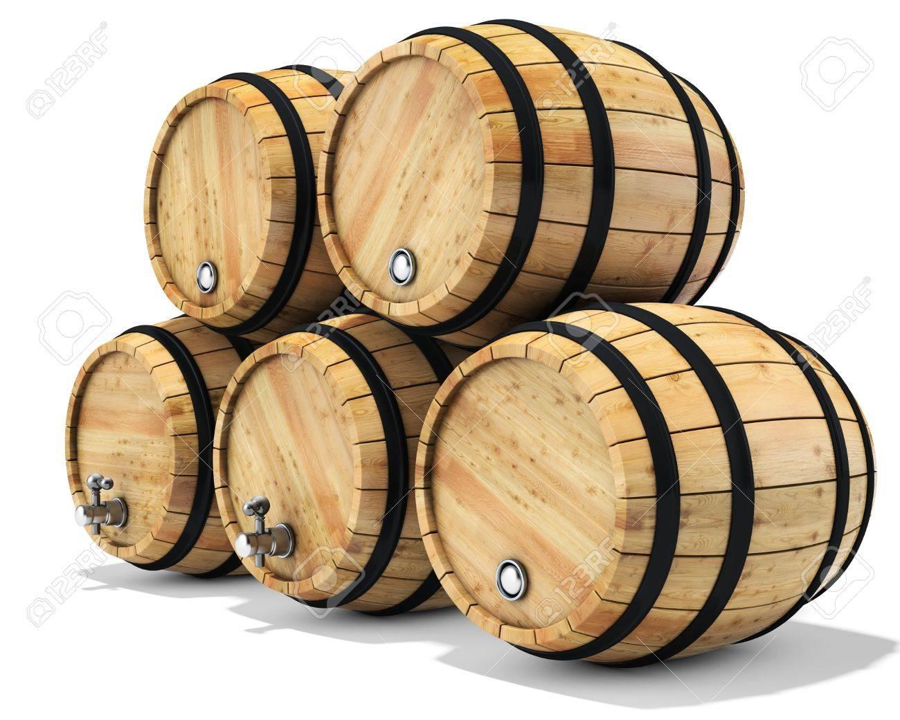 stack wine barrels. 3d Wine Barrel Stack On White Background 3D Illustration Stock - 59380145 Barrels
