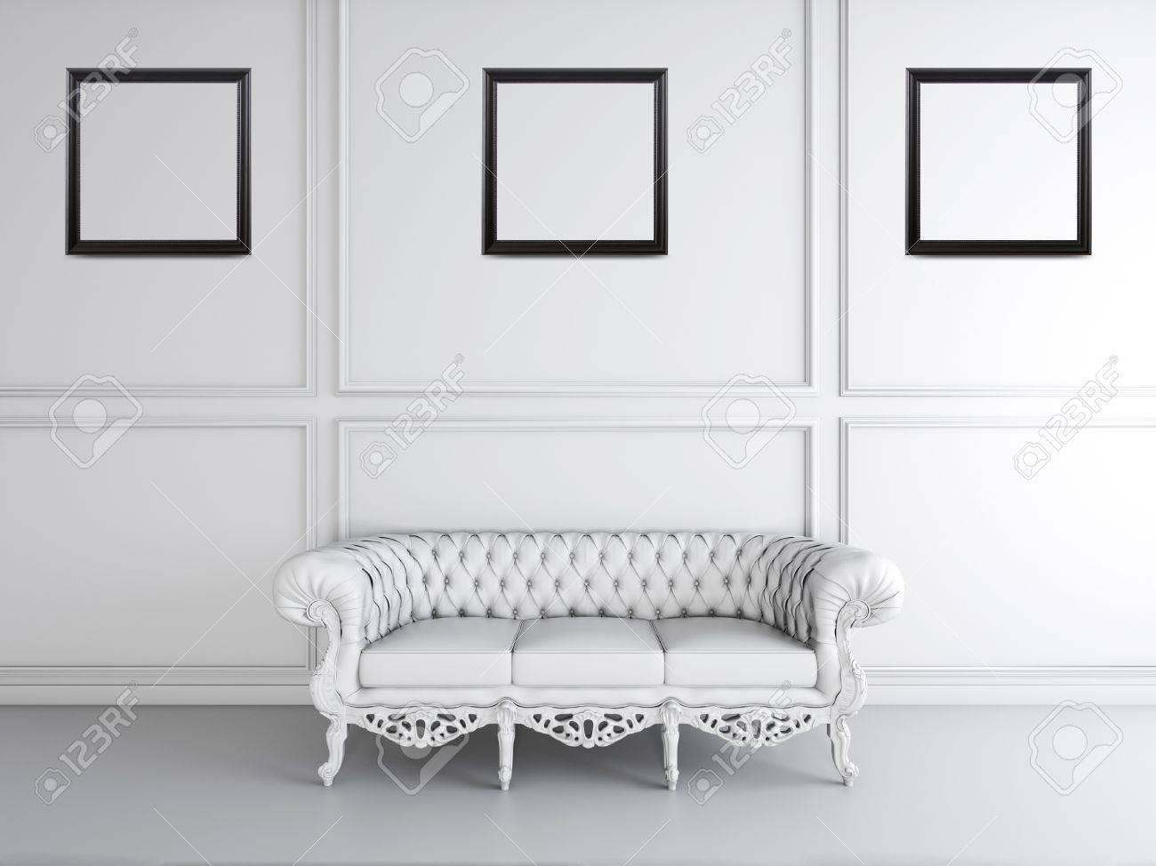 Blanco Diseño Interior De La Sala De Estar Con Sofá Y Marcos De ...