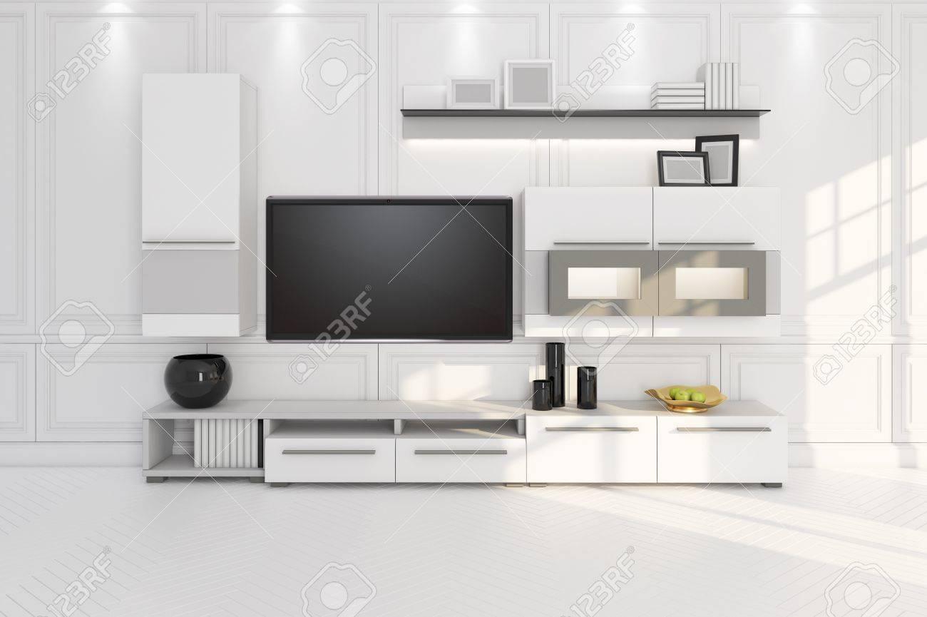 Wohnzimmer Mit Tv Möbel Und Regal 3d Illustration Lizenzfreie Fotos