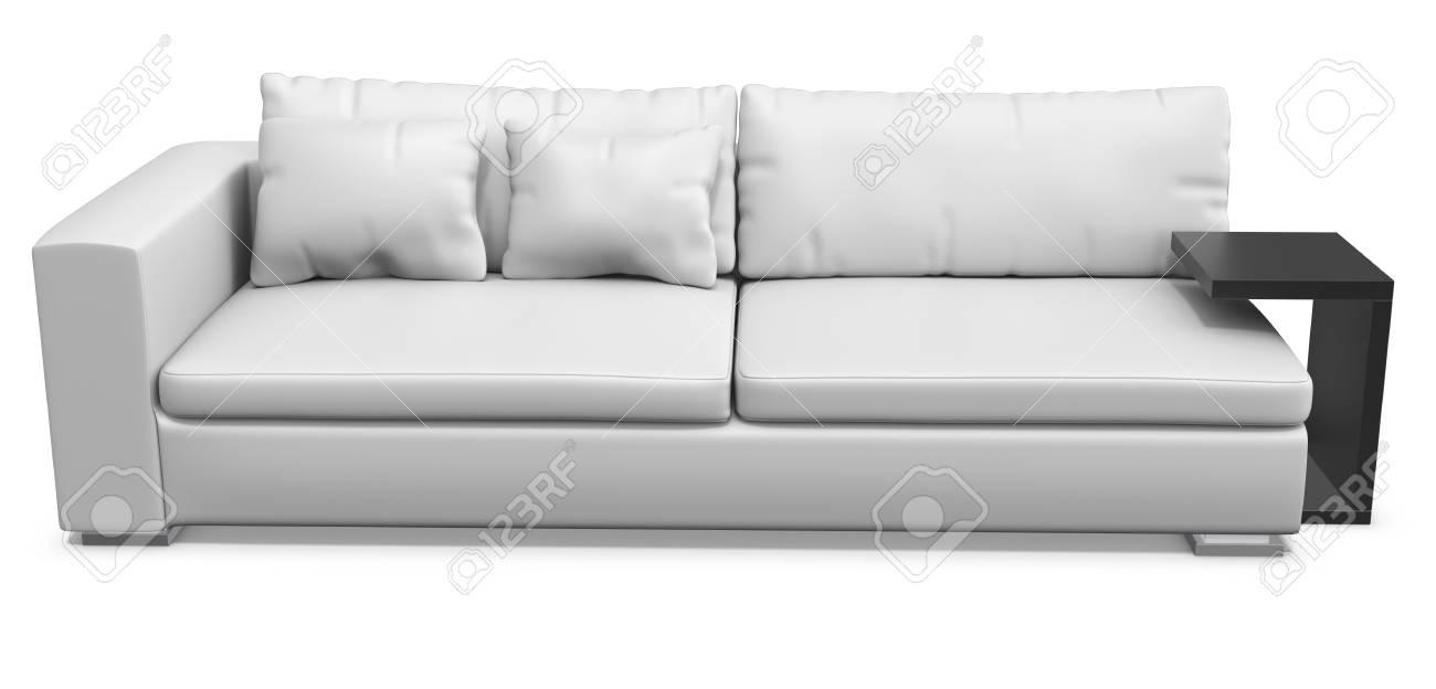 Faszinierend Ledersofa Weiß Galerie Von Standard-bild - Weißes Auf Weißem Hintergrund 3d-darstellung