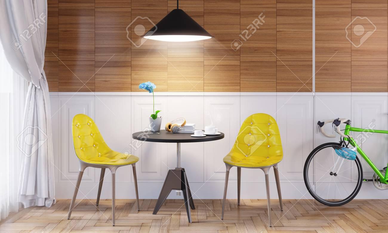 Interior De Estilo Contemporáneo, Comedor En Casa. Mesa Pequeña Con ...