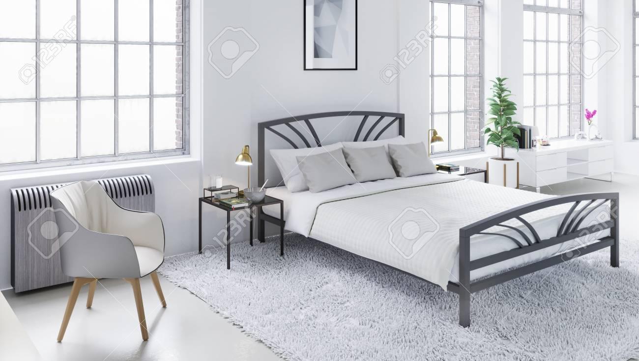 Chambre moderne blanche, design d\'intérieur scandinave Illustration 3D