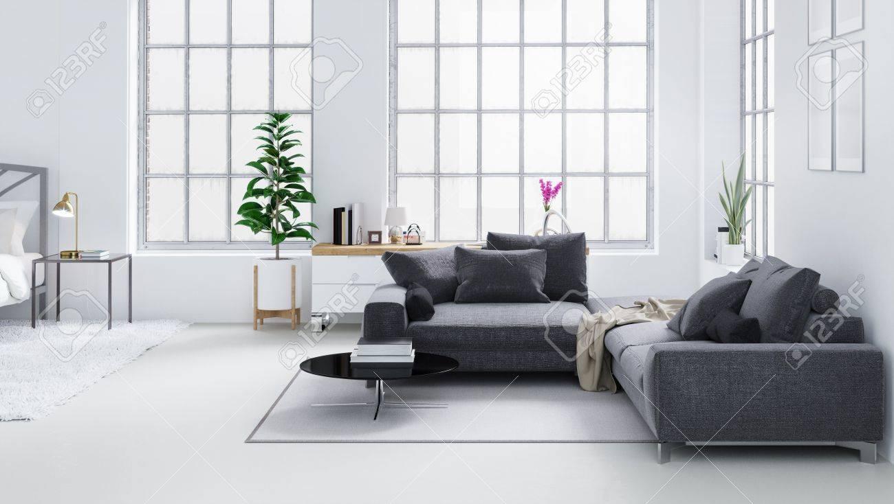 Salon Moderne Blanc, Design D\'intérieur Scandinave Illustration 3D ...