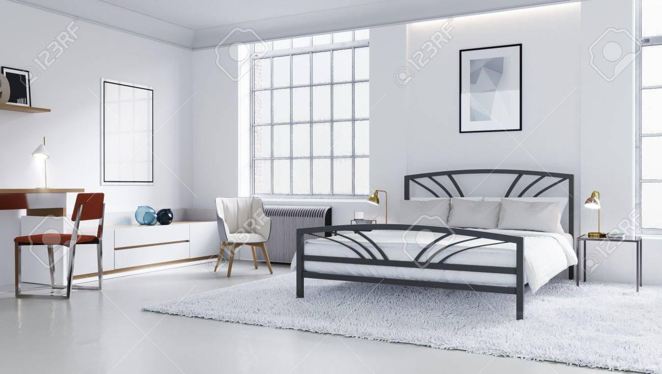 Chambre Moderne Blanche, Design D\'intérieur Scandinave Illustration ...