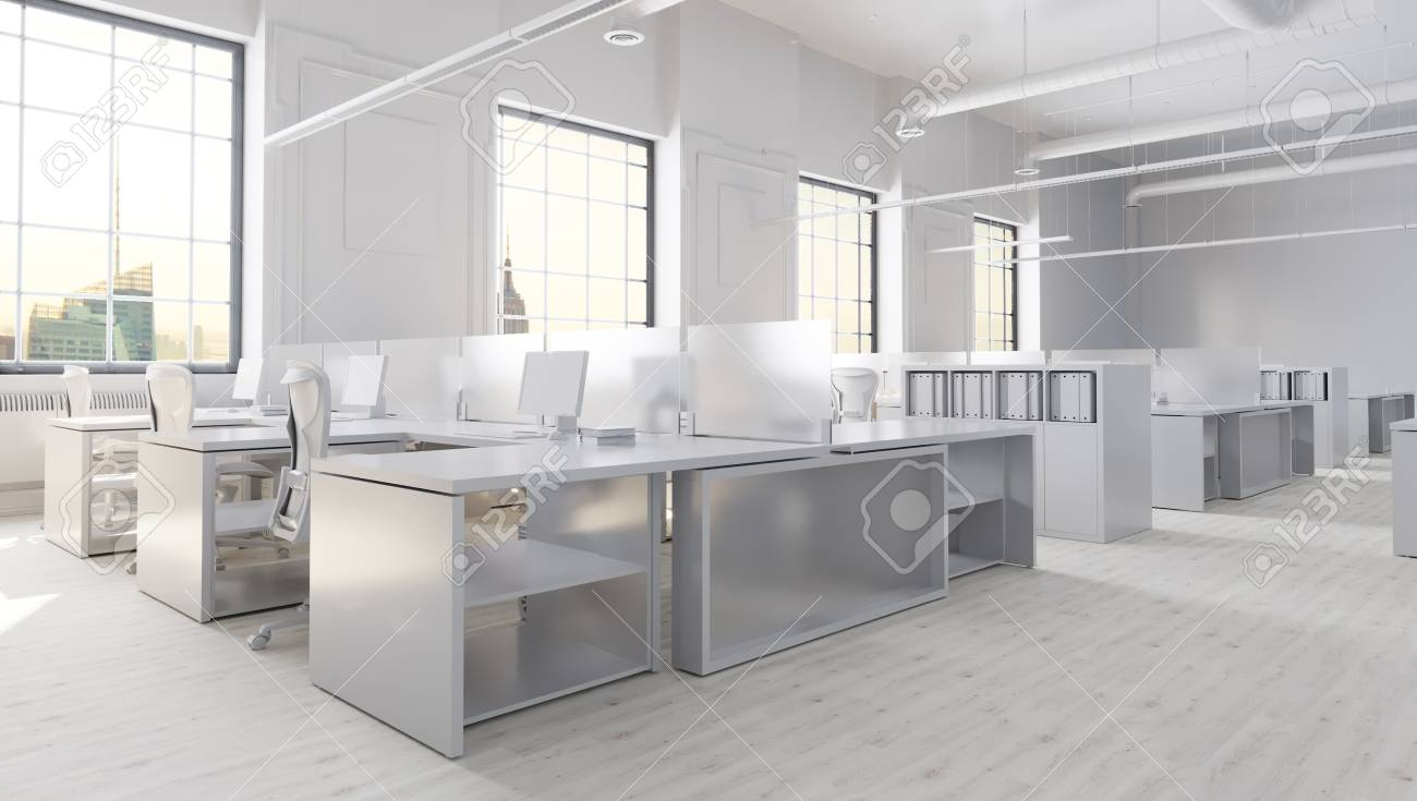 Illustration   White Modern Office Space With City Background 3D  Illustration