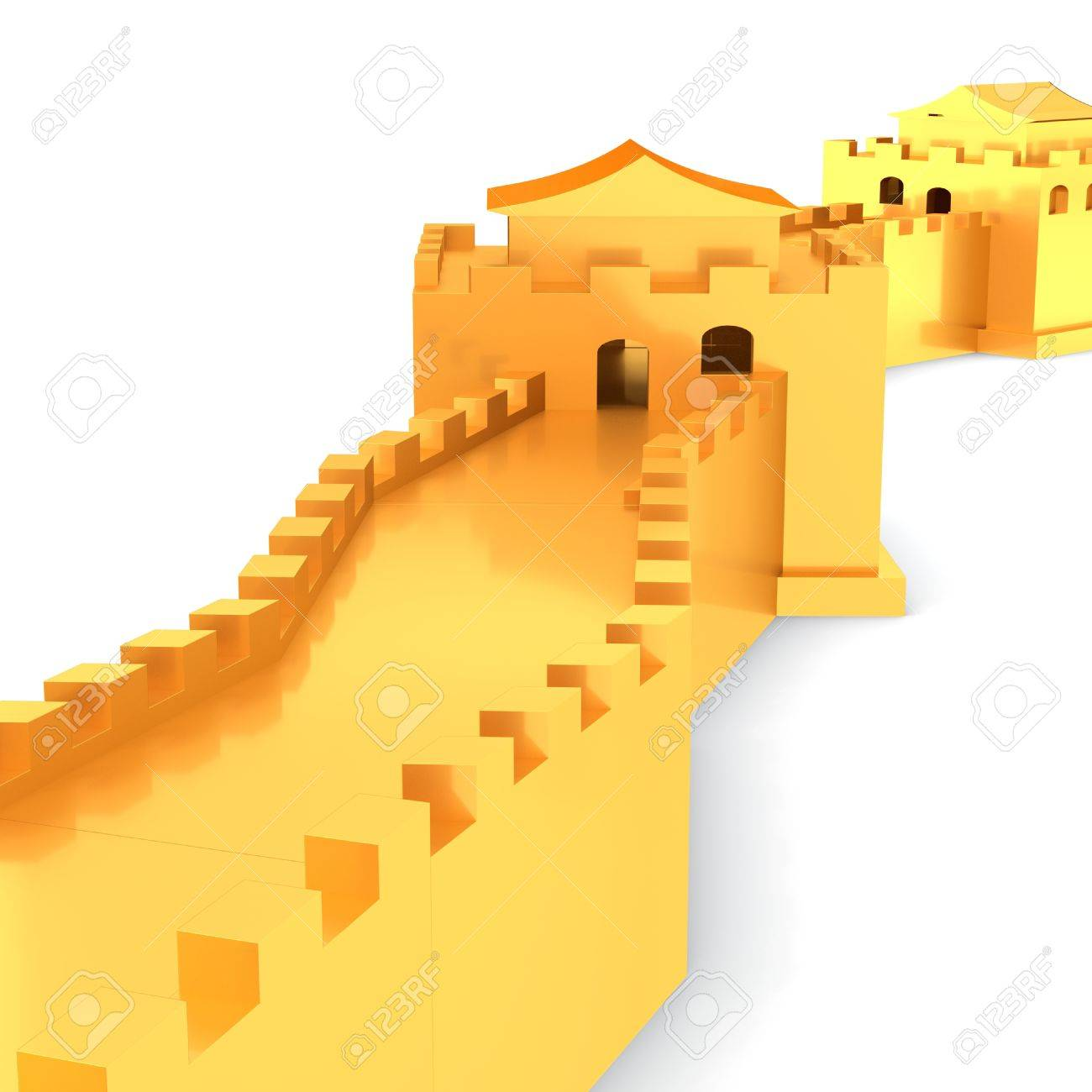 3d Golden Great Wall Of China On White Background 3D Illustration ...