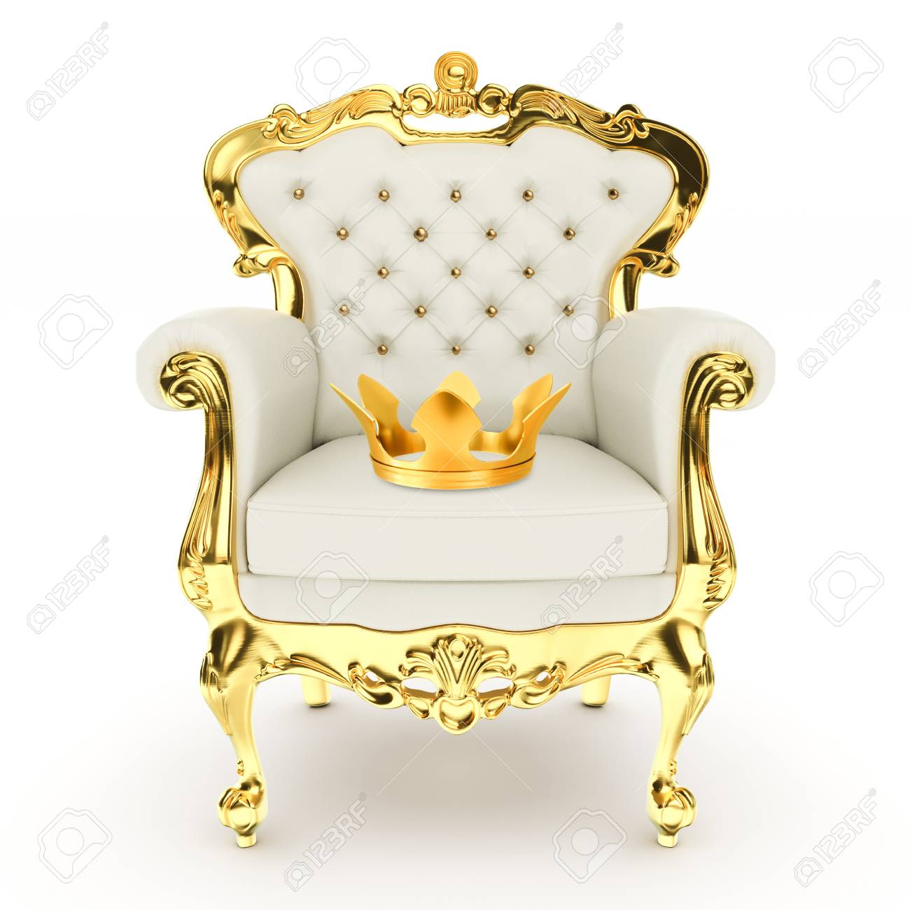 3d kingu0027s throne royal chair with golden crown on white background 3d illustration Stock Illustration  sc 1 st  123RF.com & 3d Kingu0027s Throne Royal Chair With Golden Crown On White Background ...