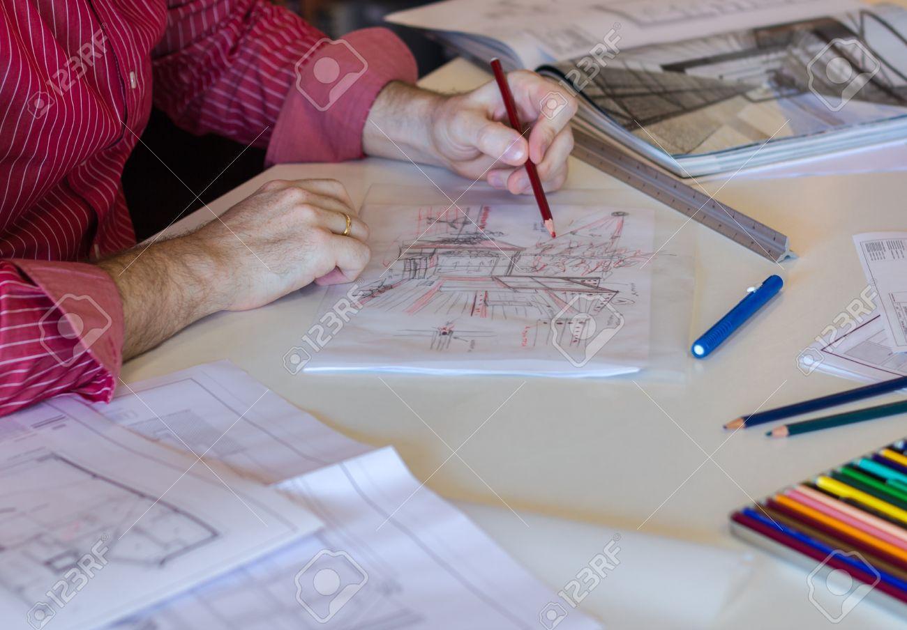 Architecte ou bussines croquis jeune homme dessin fait à la main ...