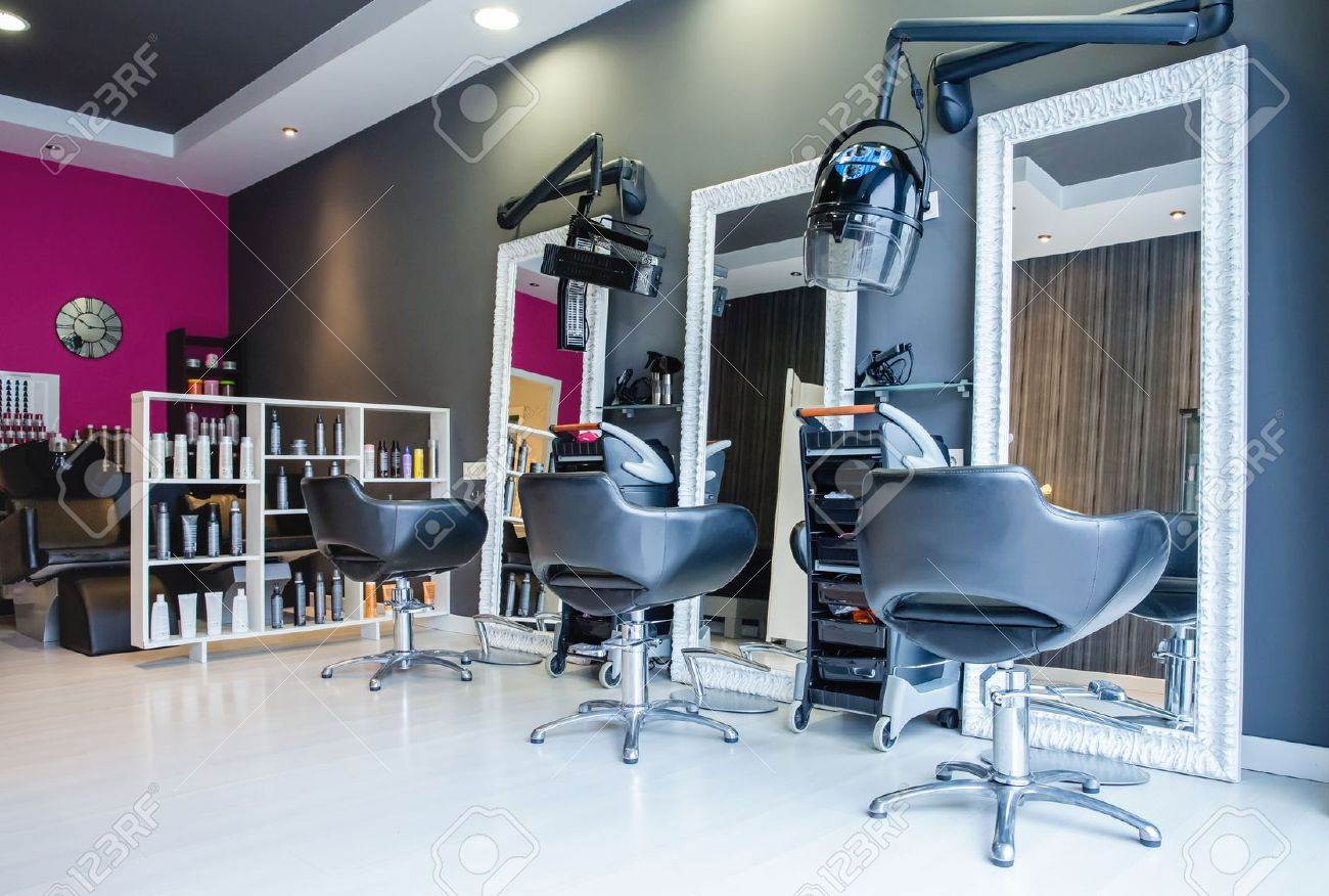 modern beauty salon furniture. Interior Of Empty Modern Hair And Beauty Salon Decorated In Gray Fuchsia Colors Stock Photo Furniture