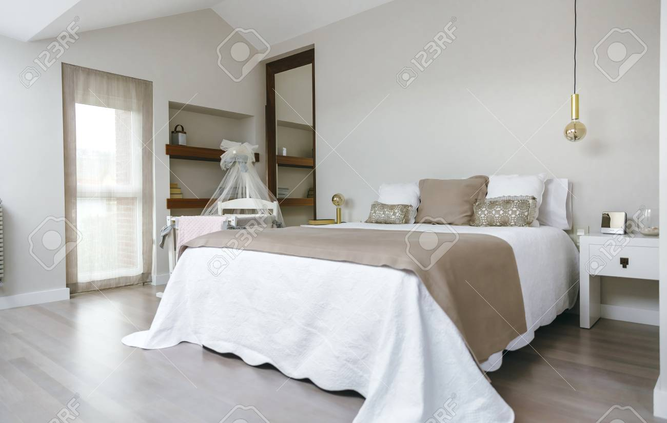 - Sober And Elegant Bedroom With Double Bed And Cot With Canopy
